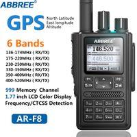 ABBREE AR-F8 GPS 6 bandas (136-520MHz) 8W 999CH Multi-funcional ABBREE AR-F8 LCD a cores Amador Ham Two Way Radio Walkie Talkie