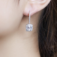 Lady's Classic solid 925 Sterling Silver Earrings Square Put together SONA Diamond Earrings Wedding Jewelry for Women Gift girls