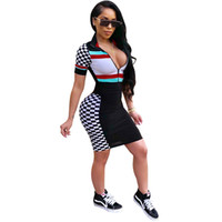 Digital Printed Dress For Women Panelled Plaid With Zipper D...