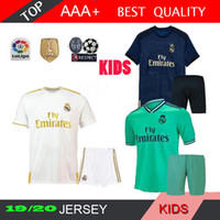 ENFANTS 19 20 Real madrid HAZARD Maillots de foot 2019 2020 Kit BENZEMA MODRIC isco MARCELO Ensemble de maillots de football pour camiseta de futbol