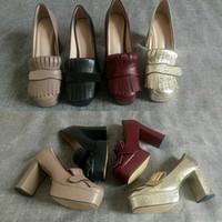 """3.3"""" 4.5"""" platformuyla saçak kadınlar yüksek topuklu Vintage Marmont ayakkabı Çift Ayak donanımıyla Son Deri platformu pompa"""