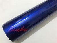 1.52x20 m / Rulo 5x67ft Parlak Şeker Metalik Mavi Vinil Araba Wrap Styling Için Hava kabarcığı Ile Kapsayan Ücretsiz