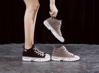 Tomaia in pelle alta edizione femminile web celebrity 2019 nuove scarpe autunnali scarpe bagnate joker tempo libero sandali in pelle con fondo spesso stivali corti