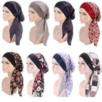 Мусульманские женщины печатают хлопок тюрбана шляпные шарфы предварительно завязанные рак химии шапочки головные уборы Bandana Headwrap аксессуары