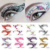 Pegatinas de tatuaje temporal loco Fiesta de niñas Etiqueta de sombra de ojos instantánea Herramientas coloridas de Rock de ojos 12 par / lote RRA1742
