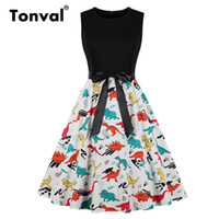 Tonval Vintage Multicolor Print Fit and Flare Dress Women Cl...
