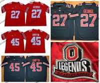 Mens Vintage Ohio State Buckeyes 27 Eddie George 45 Archie Griffin College Football Jerseys Legends Université Capuche Shirt de football cousu