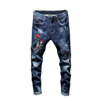 Erkek Delik İşlemeli Stretch Jeans Düz İnce Pantolon ile Gül Çiçek Yamalar Mavi Denim Pantolon Kovboylar İçin Adam