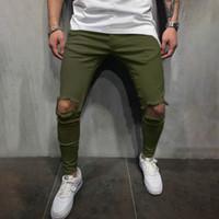 Jogger Брюки Мужские Сплошной Цвет С Отверстиями Дизайнер Pantaloes Брюки Карандаш Мода Slim Fit Повседневные Брюки