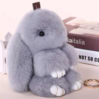 Linda Mini piel de conejo auténtica Pom Pom del conejito llavero Mujeres llavero de la muñeca del juguete del coche del bolso del monstruo baratija del conejo llavero joyería