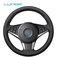 Lunda-Schwarz-Leder-Auto-Lenkrad-Abdeckung für 630i 645Ci 530d 545i 550i E60 61 E63 E64 handgenähten Lenkradabdeckung