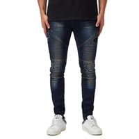 Erkek dökümlü Tasarımcı Ripped Jeans Slim Fit Biker Kalem Pantolon İlkbahar Sonbahar Moda Pantolon