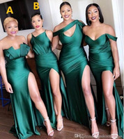 2020 New Turquoise Green Side Split Bridesmaid Dresses Long ...