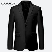 KOLMAKOV New Fashion Blazer herren Jacken slim fit Mäntel Männer Vintage Style kleid Reine farbe Blazer männer Plus größe M-6XL