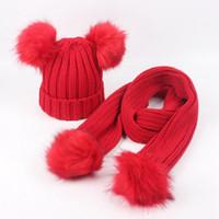 Bambino invernali Berretti sciarpa regola Cappelli bambini Pom Pom Beanie lavorato a maglia cappello di lana casuale caldo Protezione Con lettera Sciarpe LJJA3291