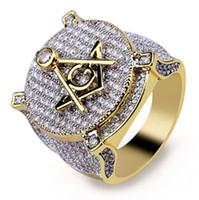 Lusso Massone Hip-hop Simbolo Anelli massonici Mens Micro Pavimenta Cubic Zirconia Bling Bling Diamanti simulati Anello placcato oro 18 carati