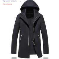 Miscele di lana da uomo 100% Cappotto Uomo Giacca a doppio lato Giacca lunga con cappuccio Cappotto da uomo Cappotti e Giacche Casaco Masculino 16011 KJ2455