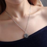 Collares de moda simples para mujer -Sun-Moon-in -1 encanto collar de la cadena de la cadena de la cadena de enlace Lariet Collares (oro, plata)