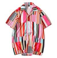 2020 Camisa de Hip Hop Streetwear hombres de la camisa hawaiana rosada raya del color de Harajuku Beach Camisa de Hip Hop camisas de manga corta de verano