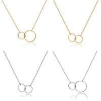 Yeni Casual Çift Çember Tasarımcı kolye Gümüş Altın Zincir Kadınlar Başlangıç Eternity Birbirine Hoop Infinity kolye Bildirimi Kolye
