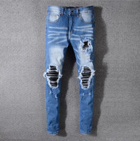 Men Ripped Jeans Patchwork Hollow Out Straight Brand Beggar ...