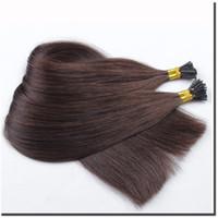 темно-коричневый цвет # 2 300Strands 150г Pre-стружечных бразильский Remy человеческих волос Я Стик кончиков Удлинитель темно-коричневый цвет 2 # 0.5g нитка
