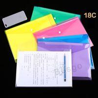 6 Renk DBC BH2709 Klasör Snap Düğme Şeffaf Dosyalama Zarflar Plastik Dosya Kağıdı Klasörler 18C Temizle Button ile A4 Belge Dosyası Çantaları