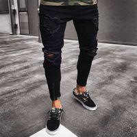 Mens Cool Designer Marque Black Jeans Skinny Déchiré Détruit Stretch Slim Fit Hop Pantalon Hop Hop Avec Trous Pour Hommes Dropship