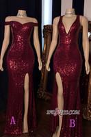 Imagem Real Sexy Burgundy Sequins Side Dividir Vestidos de baile da sereia mangas Pescoço V Vestido Wear personalizado Vestidos de Festa