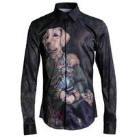 Original Design Männer Hemd Luxus Hund gedruckt lange Ärmel Kleid Camisa Masculina beiläufige Mens-Hemden Slim Fit