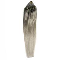그레이 8a 브라질 버진 헤어 번들 100G 실버 머리카락 확장 100s 루프 마이크로 링 인간의 머리카락 확장