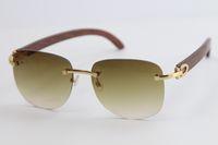 Nuevas Gafas de sol de madera Gafas de sol Metal Marco de oro Lente transparente Gafas Lentes Sin borde Tablón Tablón Gafas de sol con caja de caja masculina y hembra