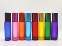 Großhandel bunter 10ml 1/3 Unzen DICK Roll On Glass Perfume Bottle Fragrances Ätherisches Öl-Flasche Rollerball
