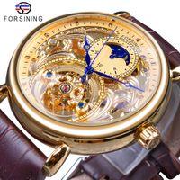 2018年ロイヤルゴールデンスケルトンディスプレイブルーハンズブラウンヌーインレザーベルトメンズメカニカル腕時計クロック男性