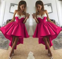 Fuschia 새틴 화이트 Applique 연인 칵테일 파티 동창회 드레스 신부 졸업 드레스와 함께 높은 낮은 짧은 댄스 파티 드레스