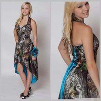 Blue Camo Brautjungfernkleider Hi Low Wedding Party Kleid Short Front Long Back Camouflage Trauzeugin Kleid Halter Country Brautkleider