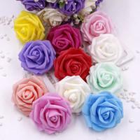 20 capi 6CM gomma piuma del PE Rosa fiore artificiale Heads sposa Bouquet da sposa della decorazione di DIY Scrapbooking Corona Falso Rose decorativo