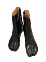 2019 Tasarım Tabi Boots Bölünmüş ayak Chunky Yüksek topuk Kadınlar Boots Deri Zapatos Mujer Moda Sonbahar Kadın Ayakkabı Botaş Mujer