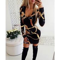 Seksi Derin V yaka Sarayı BODYCON Elbise Kadınlar Uzun Kollu Şık Parti Elbise Office Lady Casual Çalışma Mini Dress yazdır