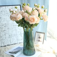 3 heads 10pcs Artificial Flowers Big Rose Flowers Wedding Bo...