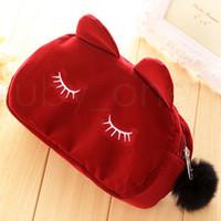 Preciosa Gatos 3D franela viaje bolsas de cosméticos de maquillaje moneda del caso del gato bolsa Mujeres Higiene Organizador de la cremallera de dibujos animados bolsa de almacenamiento RRA2841-3