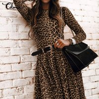 Bohemian Dress Celmia Women Leopard Printed Maxi Sundress O-...