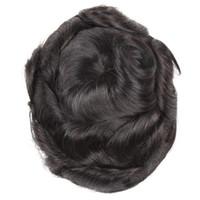 8x10 reine Farbe # 1B Herren Perücke Haarteil Human Hair Toupee Perücke Mono Base Atmungsaktive Toupee für Männer System Wellenförmig Stil