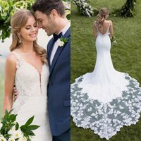 2019 Country Wedding Dresses Mermaid V Neck Lace Applique Sa...