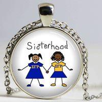 Explosões colar letra grega partido Sigma Gamma Rho Sororidade decorativa Colar Sisterhood artesanal Gem pendente do encanto