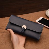 New 2019 ladies long purse buckle soft leather clutch bag si...