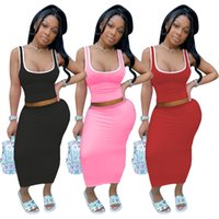 Women's Solid Two Piece Sets Lady Casual Fashion Sleeveless Square Collar Crop Top Skinny Bodycon Ankle Length Skirt Suits Sets
