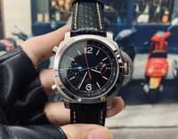 2020 высокого класса мужские часы автоматические механические черный кожаный ремешок из нержавеющей стали пряжкой 44MM топ часы 5