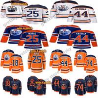 Edmonton Oilers 2019-2020 Üçüncü Formalar 74 Ethan Bear 25 Darnell Hemşire 44 Zack Kassian 18 James Neal Hokey Formaları