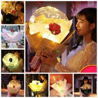 8styles بقيادة روز بالون شفاف روز BOBO الكرة روز باقة من الزهور البالونات مع مناسبات الزفاف ضوء عيد الحب هدية GGA3188